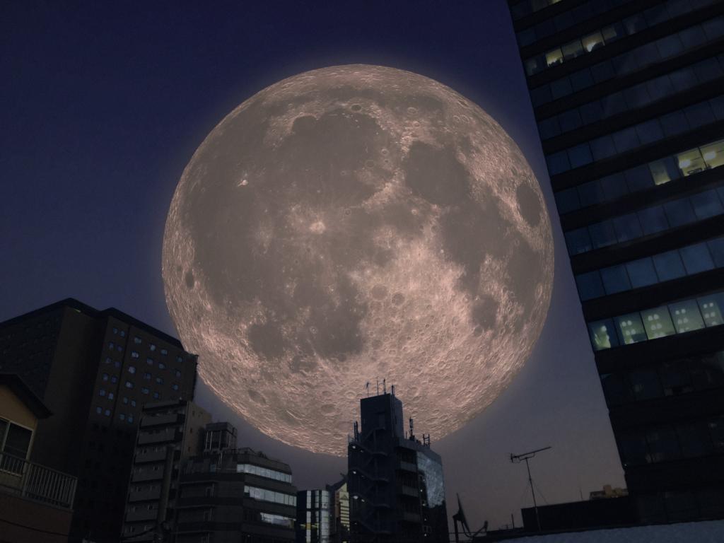 3DCGで月を作成して都内に画像処理でいれてみた