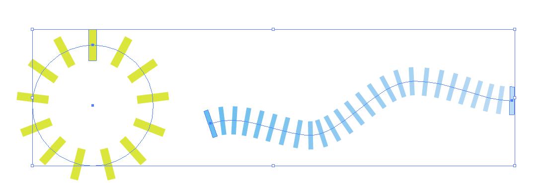 イラストレーター パスに沿って配列 パスに沿ってオブジェクトを配置